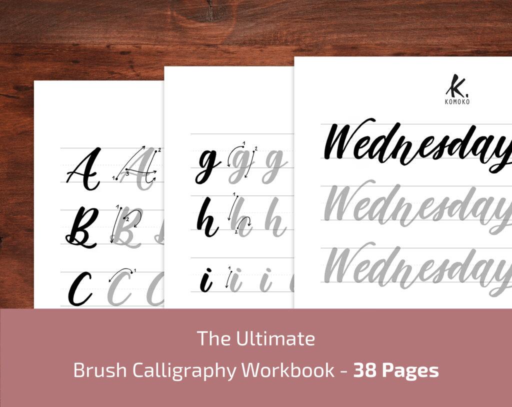 Esercizi di calligrafia stampabili in PDF- Brush Lettering
