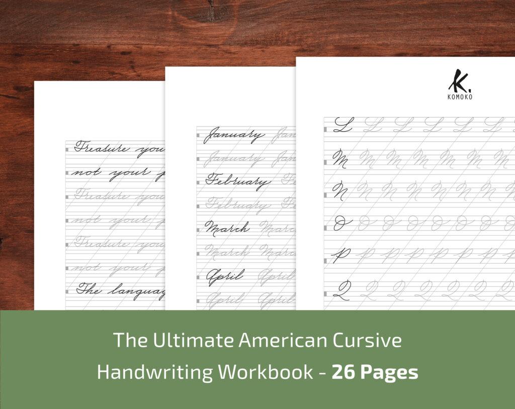 Esercizi di calligrafia stampabili in PDF - Corsivo Americano